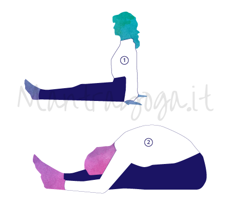 Asana Yoga Paschimottonasana - Posizione della pinza